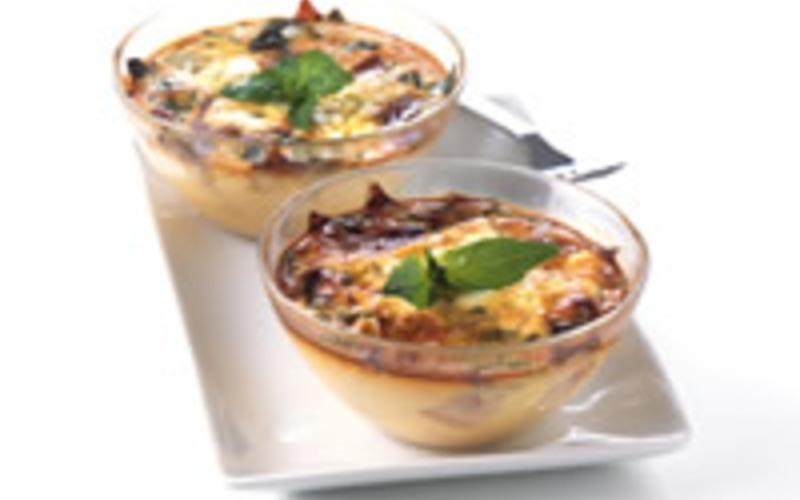 Clafoutis au jambon de bayonne et à la féta