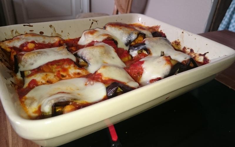 Roulés de poulet, aubergines et mozzarela