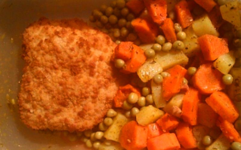 Escalope Normande, patate et légumes