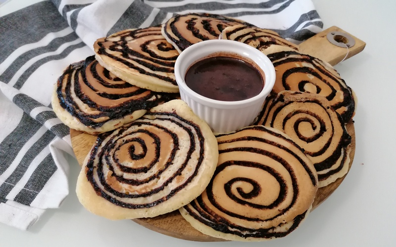 Pancakes tourbillons vanille / chocolat