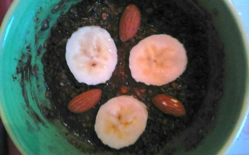Porridge cacao banane amandes !