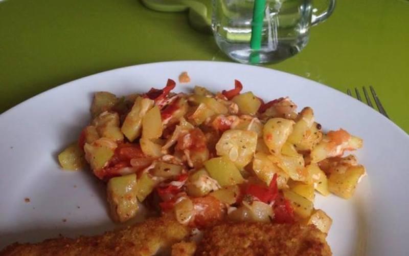 Ratatouille courgette/tomate avec poisson pané