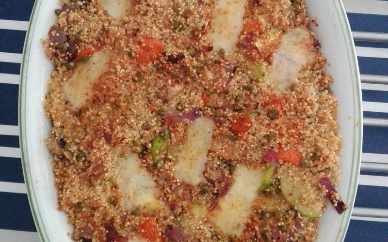 Gratin de quinoa aux légumes et au compté