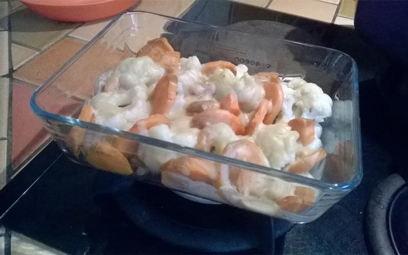 Gratin de choux fleurs et patate douce Vegan