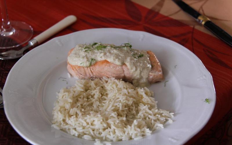 Pavé de saumon et sa crème citronnée