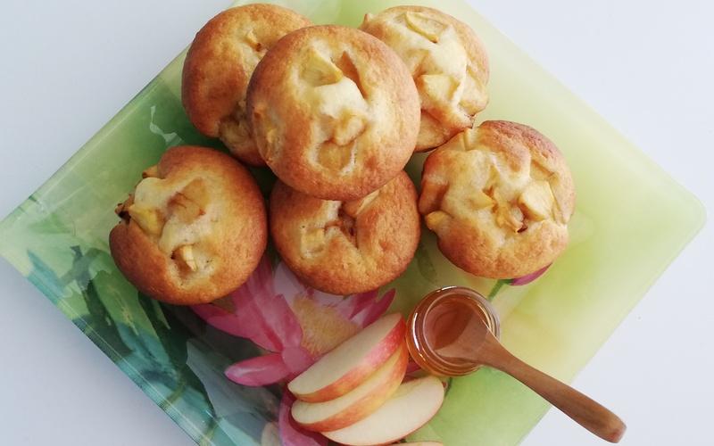 Muffins yaourt pommes caramélisées miel