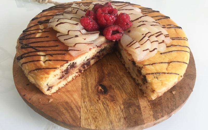 Cake poires/ chocolat à la poêle