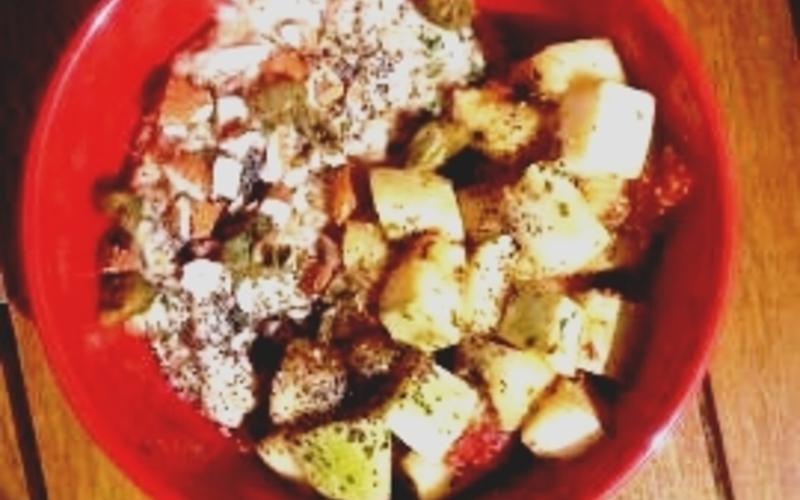 Porridge salé et wok de courgettes !