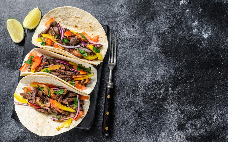Tacos au boeuf et aux poivrons