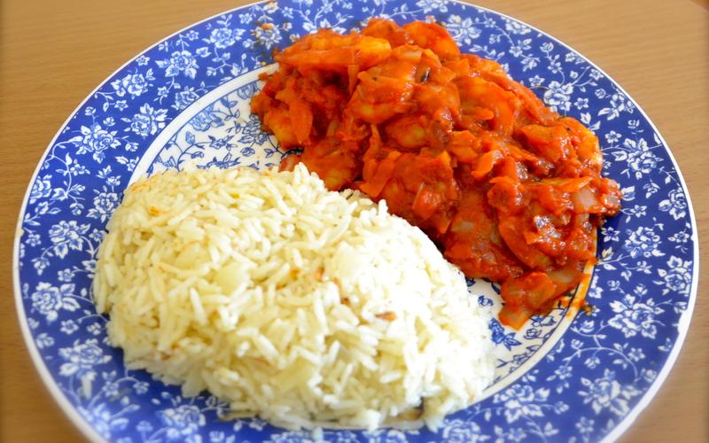 Crevettes au safran et riz parfumé