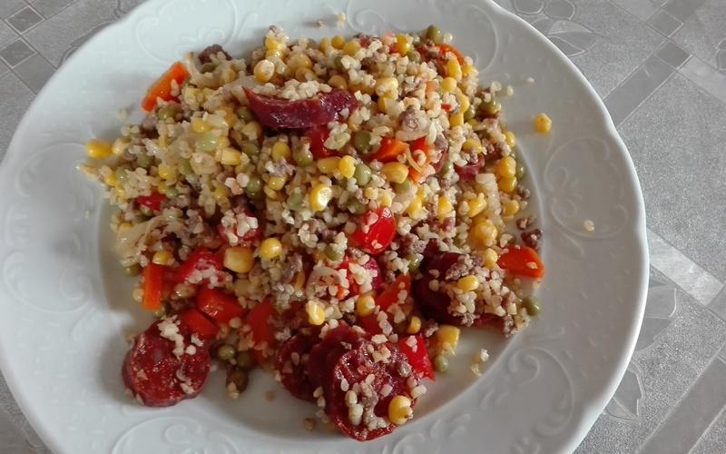 Boulgour chorizo aux légumes