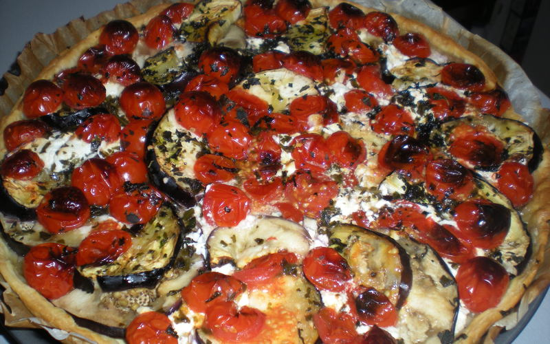 recette tarte moutarde aux aubergines tomates et ch vre pas ch re et simple cuisine tudiant. Black Bedroom Furniture Sets. Home Design Ideas