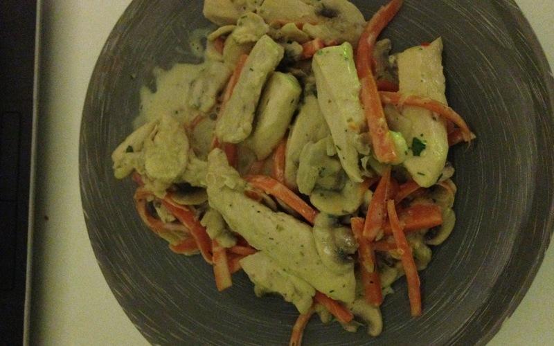 Poulet carottes et champignons