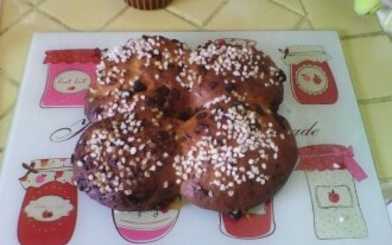 Brioche au sucre et au chocolat