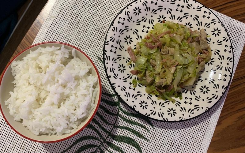 Riz blanc et chou chinois