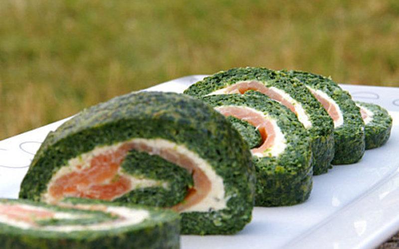 Roulé épinards-saumon