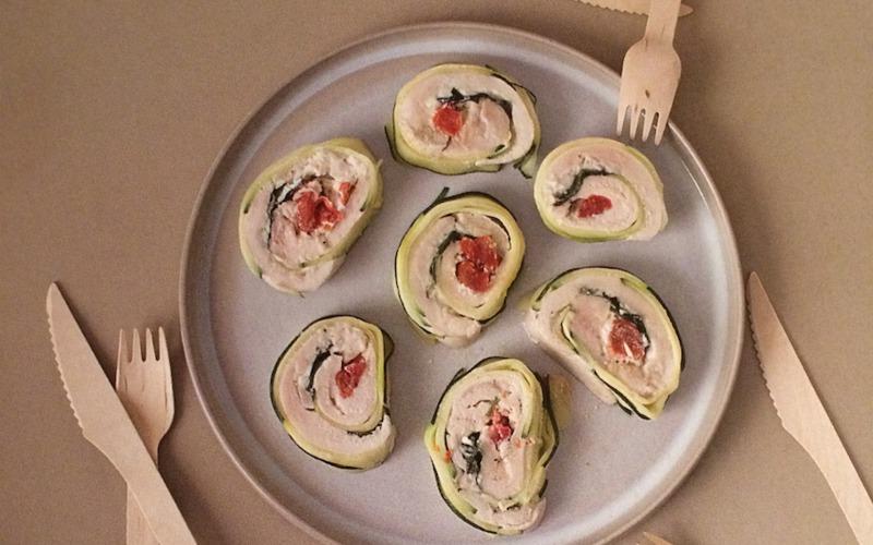 Maki Poulet, tomates séchées et basilic