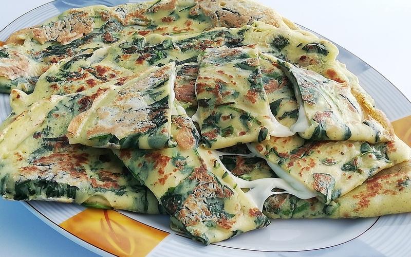 Crêpes salées aux épinards et mozzarella