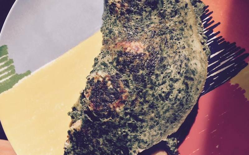 Omelette aux épinard et saucisse de volaille