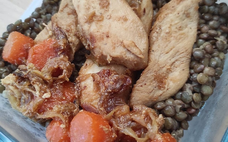 Aiguillettes de poulet & lentilles vertes