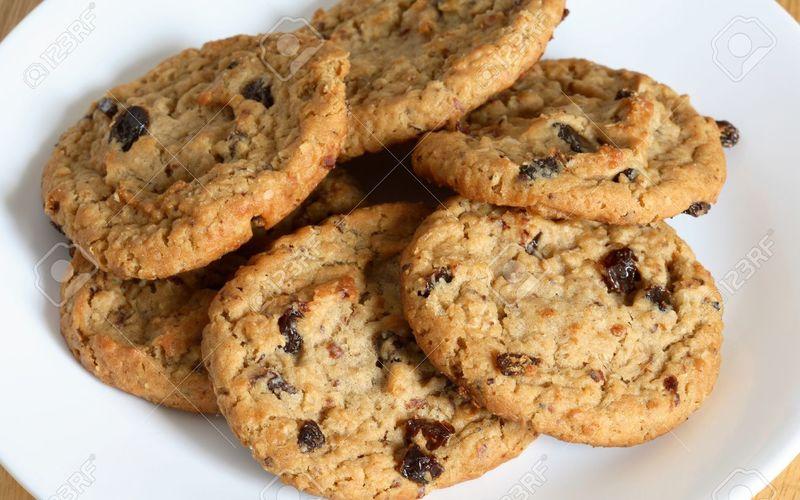 cookies aux raisins secs  ( recette expresse)