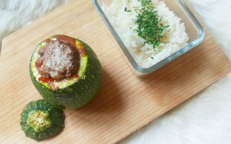 Courgettes farcies boeuf-tomates w/ riz basmati