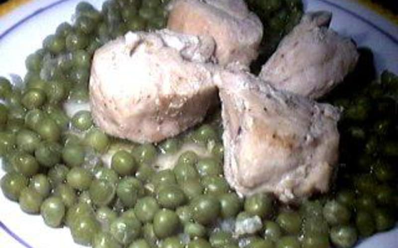 petit pois du sud au beurre et sa viande