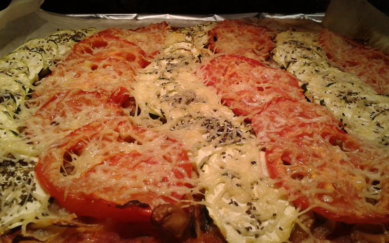 Méga pizza tomates et courgette