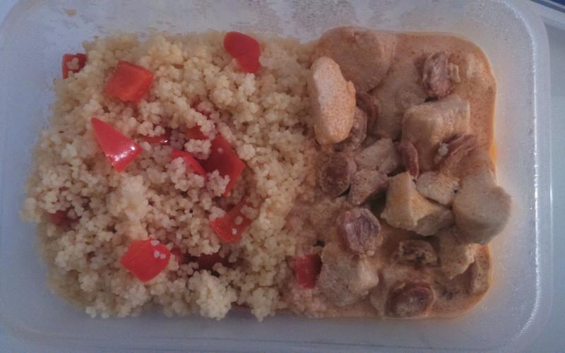 Poulet au chorizo & semoule au poivron rouge