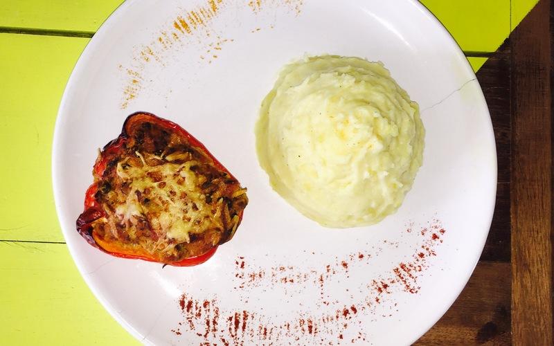 Poivron Farci Végétarien+Ecrasé de Pommes de Terre