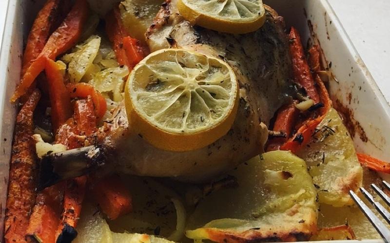 cuisse de poulet citronnée aux légumes