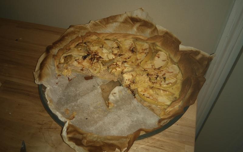 Tarte salée/sucrée, pomme thon et miel