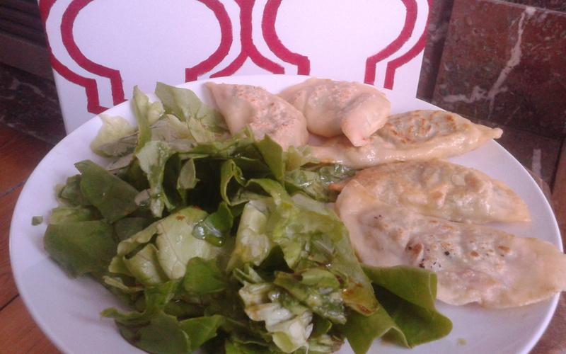 Ravioles aux légumes et salade