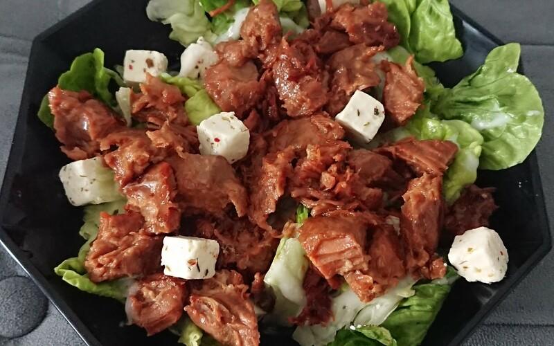 Porc confit et salade feta